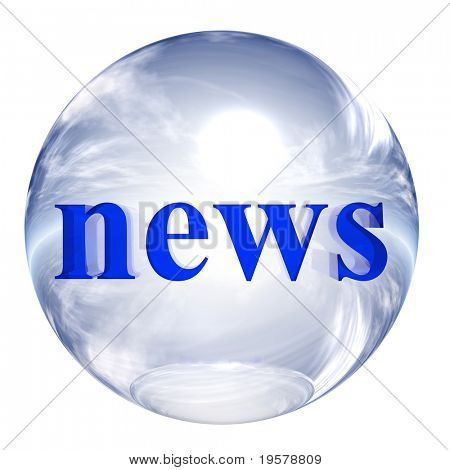 3d blue and white glass sphere isolated on white,with 3d symbol for web design buttons.news sign.