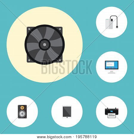 Flat Icons Printer, Cooler, Storage Device And Other Vector Elements