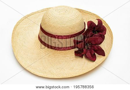 Straw Hat with Burgundy Accents