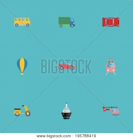 Flat Icons Chopper, Boat, Scooter And Other Vector Elements