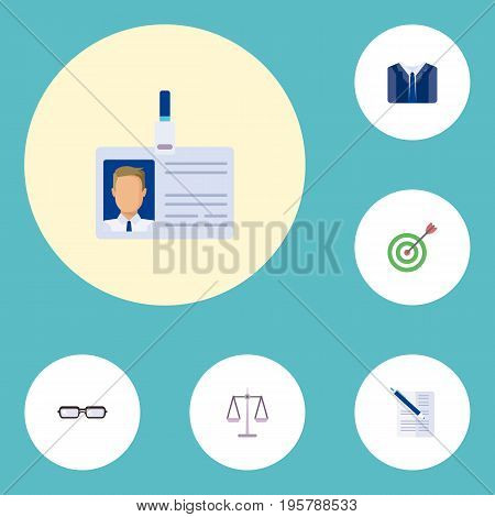 Flat Icons Libra, Costume, Contract And Other Vector Elements