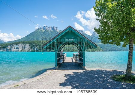 A waiting area for the boat transfer to Saint Jorioz on Lac d'Annecy in the South of France