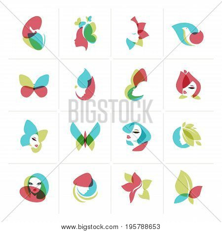Set of flat design icons for  beauty, fashion, cosmetics, spa and wellness, healthcare and natural products. Vector illustrations for web and graphic design, marketing, product design.