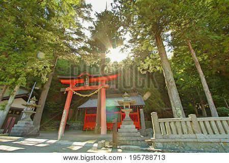Shrine in Narai is a small town in Nagano Prefecture Japan The old town provided a pleasant walk through about a kilometre of well preserved buildings.