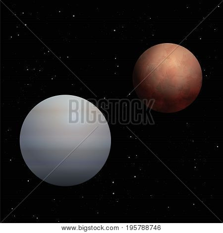 Red Mars and gray-blue Venus, symbols for male and female gender, behavior, manner - artistic and realistic vector illustration of the planetary love couple of our solar system on black background.