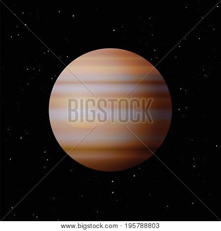 Planet Jupiter with typical great spot - largest planet in the Solar System - vector illustration on starry night galaxy black background.