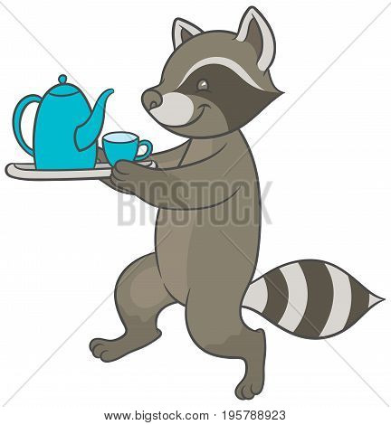 Vector illustration - cartoon raccoon carries tray of tea and teacup