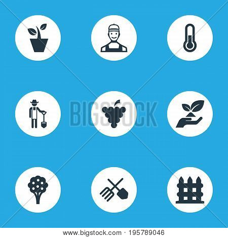 Vector Illustration Set Of Simple Garden Icons