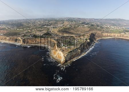 Aerial view Vincent Point in Rancho Palos Verdes near Los Angeles, California.