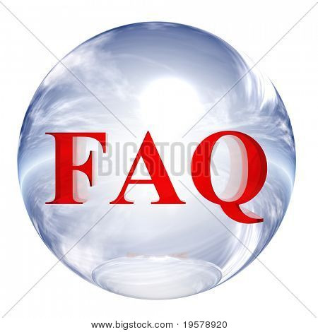 3d blue and white glass sphere isolated on white background,with red 3d symbol for web design buttons.faq sign.