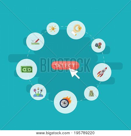 Flat Icons Cash, Rocket, Financing And Other Vector Elements