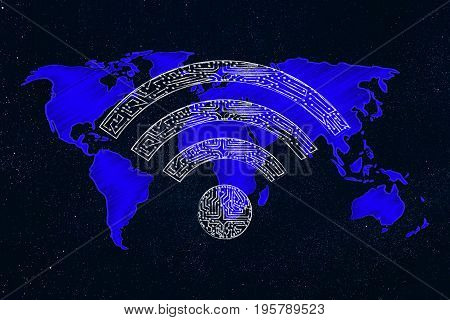 Wi-fi Symbol Made Of Microchip Circuits Over World Map
