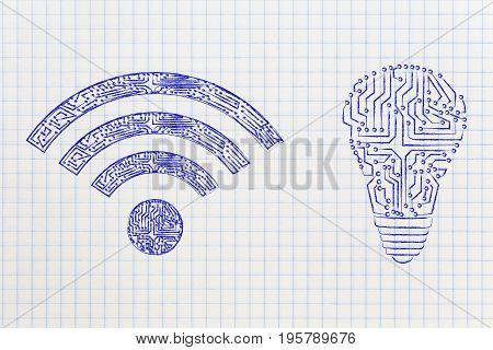 Electronic Microchip Lightbulb And Wi-fi Symbol Next To Each Other