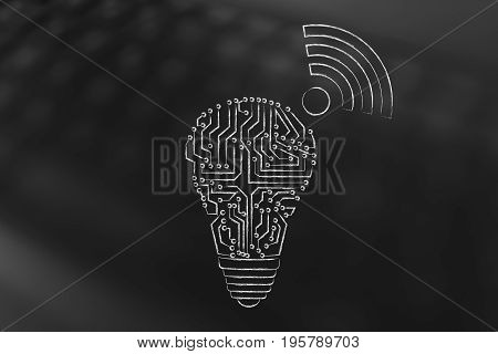 Electronic Microchip Lightbulb With Wi-fi Symbol