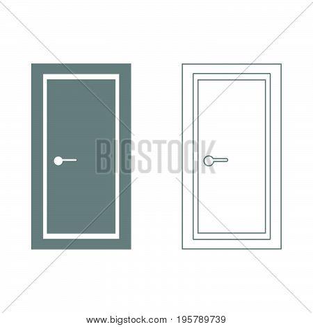 Door  it is grey  set icon .