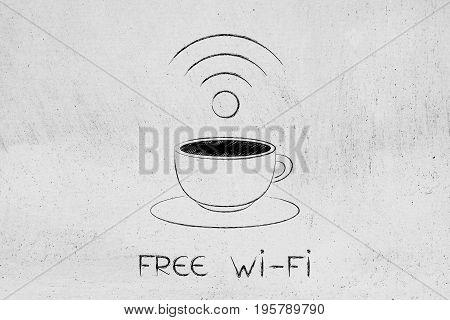 Coffee Cup And Free Wi-fi Symbol