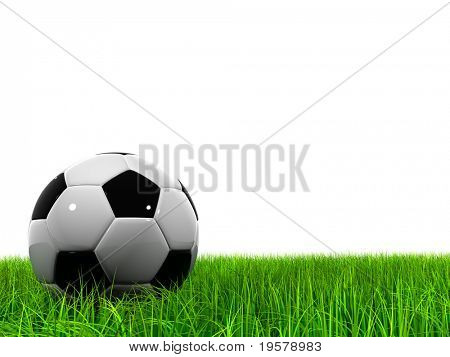 3d soccer ball on green grass isolated on white background, ideal for sport and leisure designs