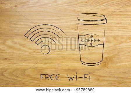 Coffee Tumbler And Free Wi-fi Symbol