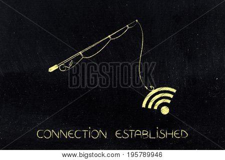 Fishing Rod Grabbing Wi-fi Symbol