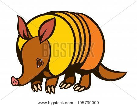 Armadillo hand drawn vector illustration - mascot or character for logo