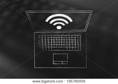 Laptop With Wi-fi Symbol On The Screen