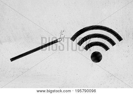 Magic Wand Next To Wi-fi Symbol
