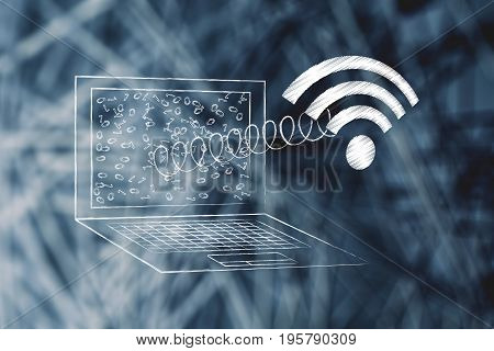 Laptop With Wi-fi Symbol Coming Out Of The Screen On A Spring