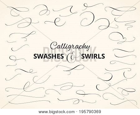Set of custom decorative swashes and swirls. Hand written calligraphy design elements, vector illustration. Great for wedding invitations, cards, banners, page decoration.
