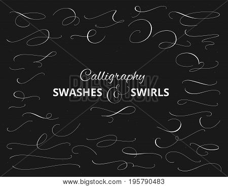 Set of custom decorative swashes and swirls, white on black. Hand written calligraphy design elements, vector illustration. Great for wedding invitations, cards, banners, page decoration.