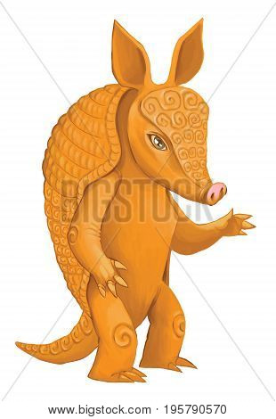 Illustration of a cute cartoon armadillo - vector digital painting