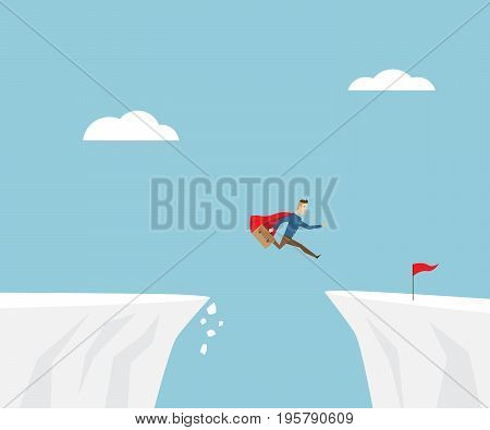 businessman in red cape jumping to success with red flag at cliff business concept cartoon vector illustration