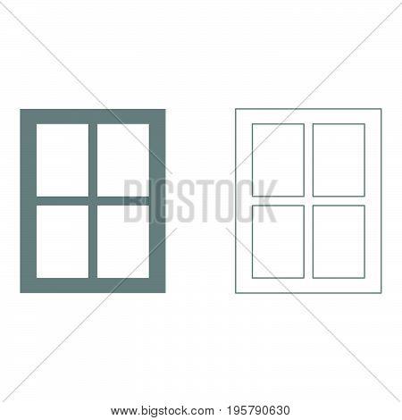 Window it is grey set icon .