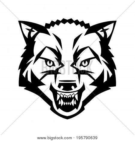 wolfs head showing teeth harsh beast hunter forest vector can be used as a tattoo or logo