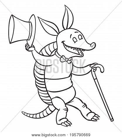 Vector illustration of happy cartoon funny dancing armadillo