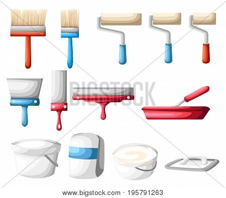 Vector Roller And Paint Brushes With Colors Painter Instruments. Home Work Process Vector Illustrati
