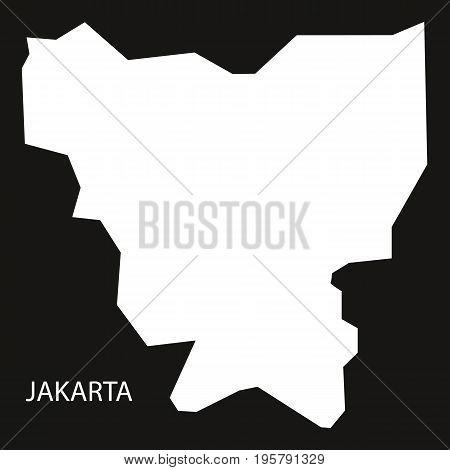 Jakarta Indonesia Map Black Inverted Silhouette Illustration Shape