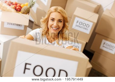Foods for everyone. Kind bright sincere woman helping the community by serving as a volunteer and collecting parcels for those in need