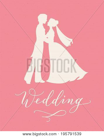 Wedding design concept with bride and groom silhouettes and hand written custom calligraphy. Can be used for wedding invitations, posters, photo overlays, stencils.