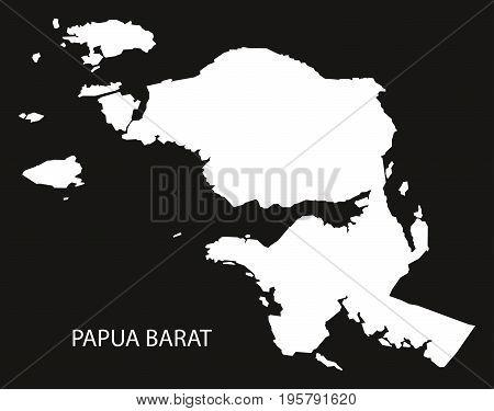 Papua Barat Indonesia Map Black Inverted Silhouette Illustration Shape