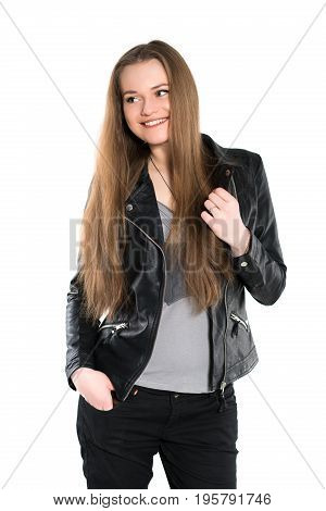 Portrait of smiling woman posing in black jacket. Isolated on white