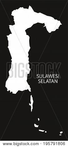 Sulawesi Selatan Indonesia Map Black Inverted Silhouette Illustration Shape