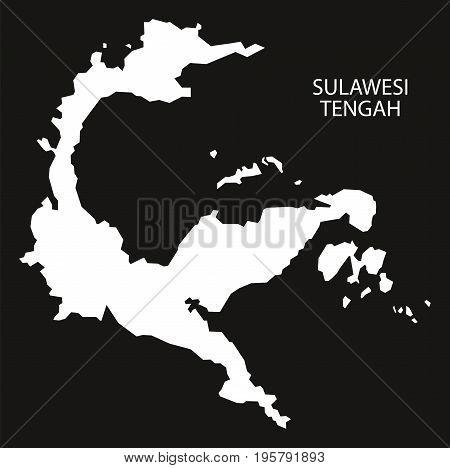 Sulawesi Tengah Indonesia Map Black Inverted Silhouette Illustration Shape