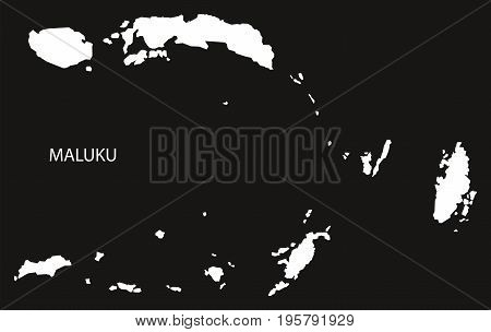 Maluku Indonesia Map Black Inverted Silhouette Illustration Shape