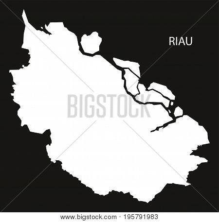 Riau Indonesia Map Black Inverted Silhouette Illustration Shape