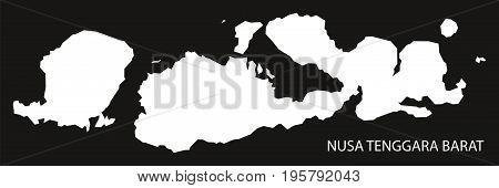 Nusa Tenggara Barat Indonesia Map Black Inverted Silhouette Illustration Shape