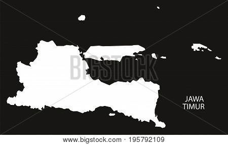 Jawa Timur Indonesia Map Black Inverted Silhouette Illustration Shape