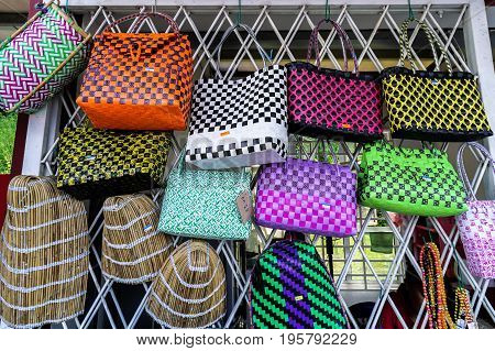 Keningau,Sabah,Malaysia-June 29,2017:Variety of handcrafts for sale in market at Keningau,Sabah.Sabah has many arts & crafts markets where can buy anything from soft wood carvings to batik fabrics.