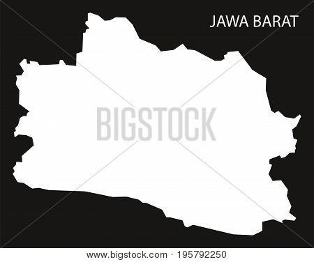 Jawa Barat Indonesia Map Black Inverted Silhouette Illustration Shape