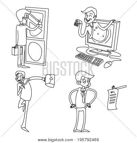 Lineart Vintage Businessman Retro Cartoon Characters Set Icon Isolated Retro Cartoon Design Vector Illustration
