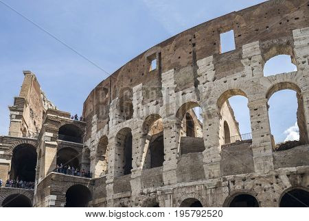 Colosseum in Rome Italy Europe June 2017 Flavirian Amphitheater. Ancient landmark filmed during the day